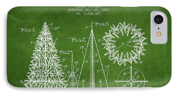 Artifical Christmas Tree Patent From 1927 - Green IPhone Case