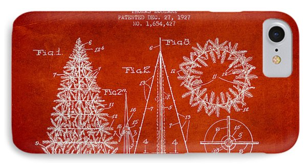 Artifical Christmas Tree Patent From 1927 - Red IPhone Case