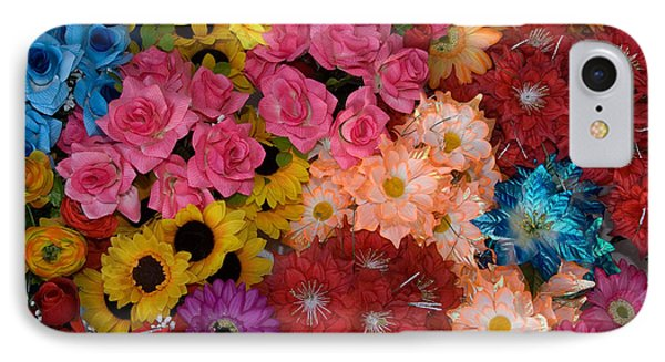 Artificial Flowers At An Acapulco Market IPhone Case by Ron Sanford