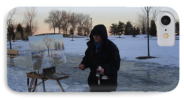 Artist At Work Lake Shore Mississauga On IPhone Case by Ylli Haruni