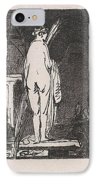Artist Draws A Nude Model, Jan Weissenbruch IPhone Case by Jan Weissenbruch And Rembrandt Harmensz. Van Rijn