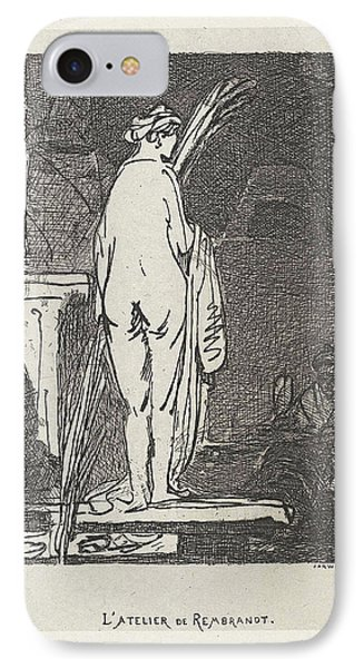 Artist Draws A Nude Model, Jan Weissenbruch IPhone Case by Jan Weissenbruch