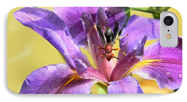 Artistic Purple Iris And Wasp IPhone Case by Warren Thompson