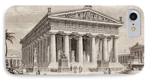 Artists Impression Of The Temple Of Poseidon, Paestum IPhone Case by European School