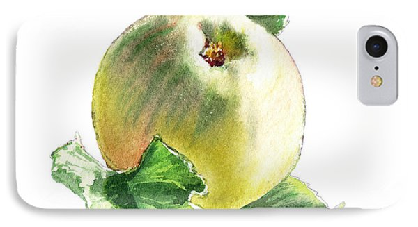 IPhone 7 Case featuring the painting Artz Vitamins Series A Happy Green Apple by Irina Sztukowski