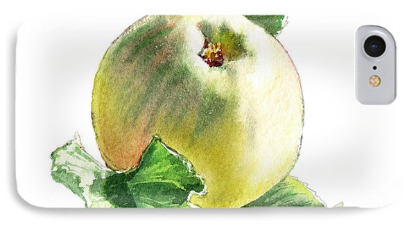 IPhone Case featuring the painting Artz Vitamins Series A Happy Green Apple by Irina Sztukowski