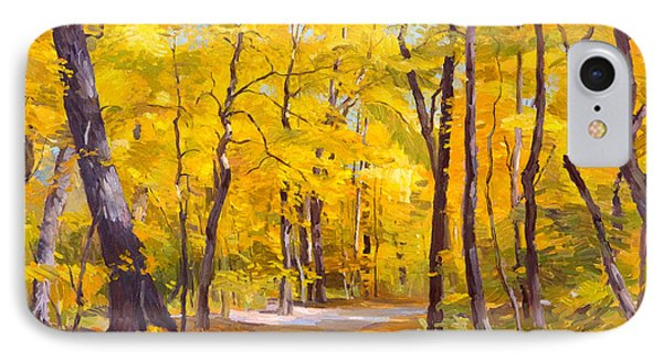 Ash Trees At Fall In The Morton Arboretum IPhone Case