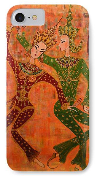 IPhone Case featuring the painting Asian Dancers by Marie Schwarzer