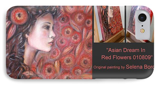 IPhone Case featuring the painting Asian Dream In Red Flowers 010809 Comp by Selena Boron