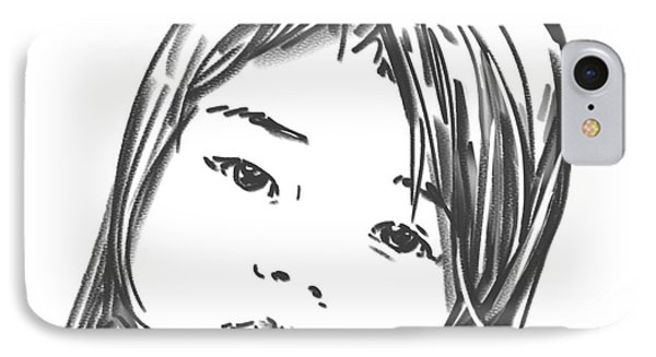IPhone Case featuring the drawing Asian Girl by Olimpia - Hinamatsuri Barbu