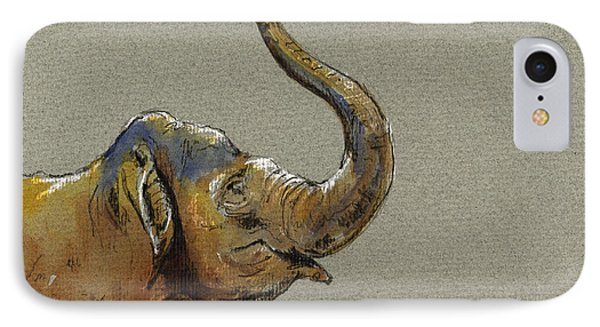 Asiatic Elephant Head Phone Case by Juan  Bosco