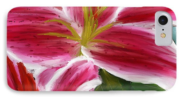 Asiatic Lily- Asiatic Lily Paintings- Pink Paintings IPhone Case by Lourry Legarde