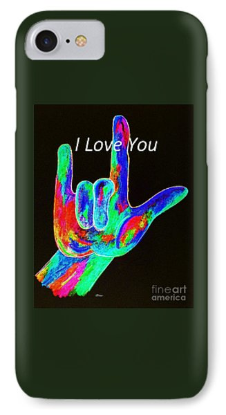Asl I Love You On Black Phone Case by Eloise Schneider