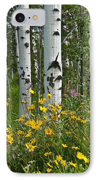 Aspen Trees And Wildflowers IPhone Case