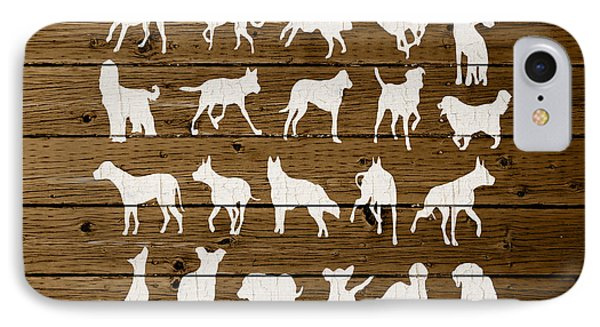 Assorted Dog Species Outline White Distressed Paint On Reclaimed Wood Planks IPhone Case