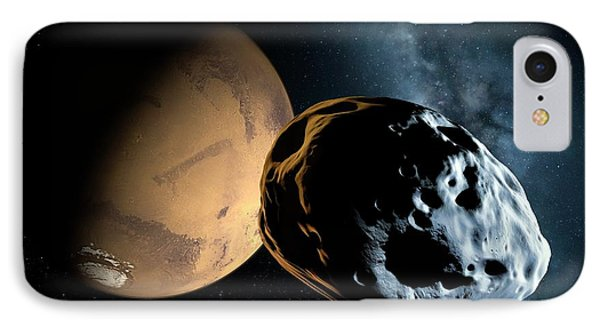 Asteroid Approaching Mars IPhone Case by Detlev Van Ravenswaay
