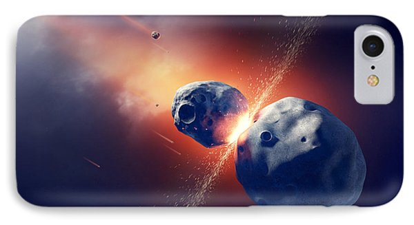 Asteroids Collide And Explode  In Space Phone Case by Johan Swanepoel