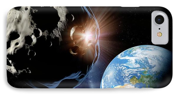 Asteroids Colliding Near Earth IPhone Case by Detlev Van Ravenswaay
