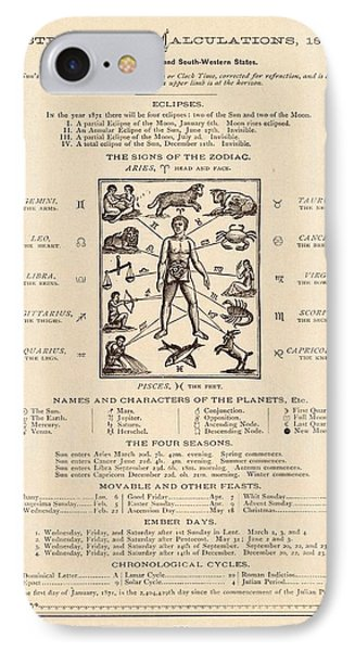 Astrology And The Human Body IPhone Case by Mid-manhattan Picture Collection/new York Public Library