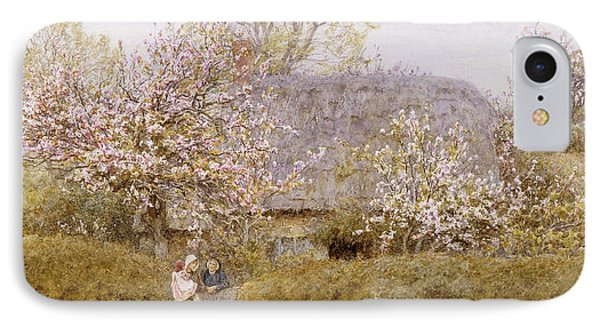 At School Green Isle Of Wight IPhone Case by Helen Allingham