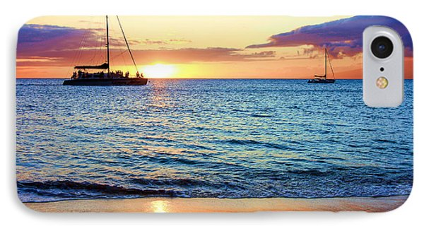 IPhone Case featuring the photograph At Sea Sunset by Robert  Aycock
