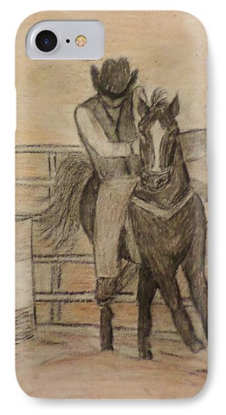 IPhone Case featuring the drawing At The Rodeo by Christy Saunders Church