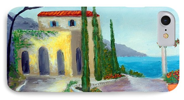 IPhone Case featuring the painting At The Seaside Amalfi by Larry Cirigliano