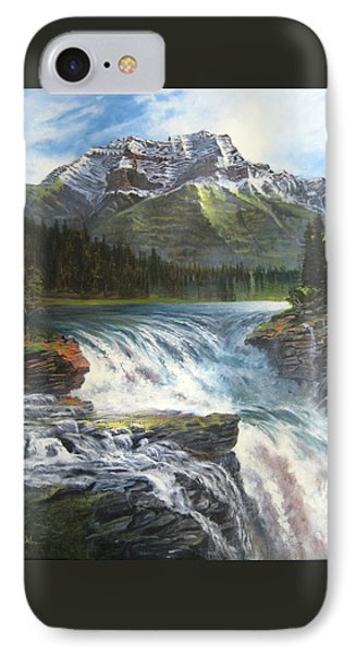 IPhone Case featuring the painting Athabasca Falls by LaVonne Hand