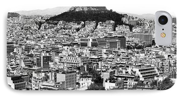 Athens City View In Black And White IPhone Case by John Rizzuto