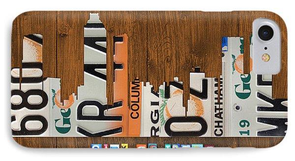 Atlanta Georgia City Skyline Vintage License Plate Art On Wood IPhone Case