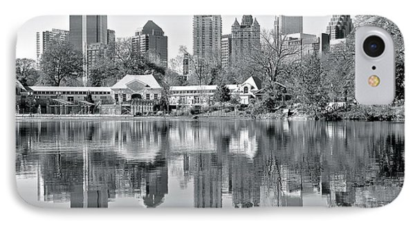 Atlanta Reflecting In Black And White IPhone Case by Frozen in Time Fine Art Photography