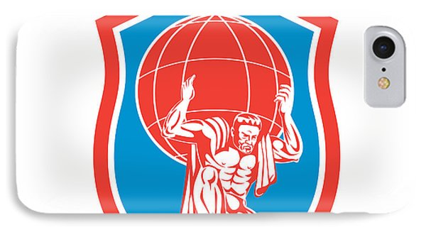Atlas Carrying Globe On Shoulder Front Shield Retro Phone Case by Aloysius Patrimonio