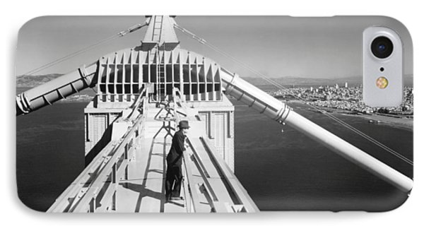 Atop The Golden Gate Bridge IPhone Case by Underwood Archives