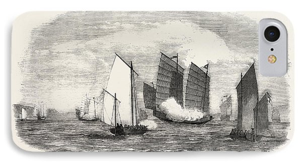 Attack On A Chinese Piratical Fleet By The Boats Of H IPhone Case by Chinese School