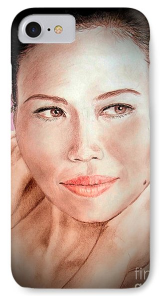 Attractive Asian Woman With Her Hair Pulled Back Fade To Black Vrsion IPhone Case by Jim Fitzpatrick