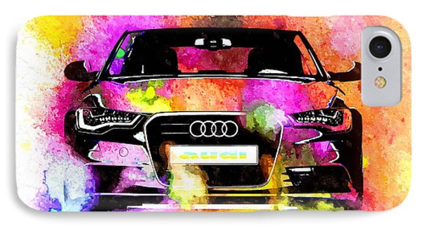 Audi A6 Avant Watercolor IPhone Case by Daniel Janda