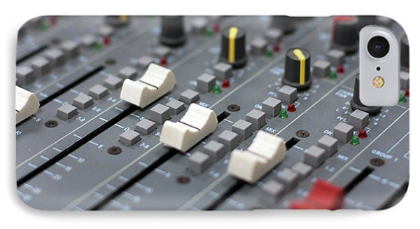 IPhone Case featuring the photograph Audio Mixing Board Console by Gunter Nezhoda