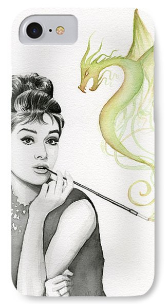 Magician iPhone 7 Case - Audrey And Her Magic Dragon by Olga Shvartsur