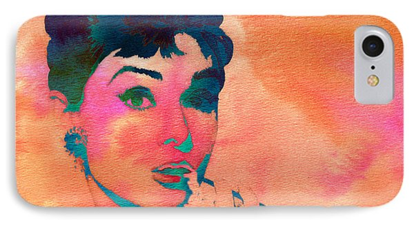 IPhone Case featuring the painting Audrey Hepburn 1 by Brian Reaves