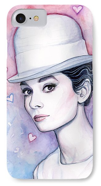 Audrey Hepburn Fashion Watercolor IPhone 7 Case by Olga Shvartsur