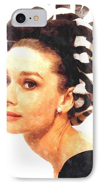 Audrey Hepburn In Watercolor IPhone Case by Gianfranco Weiss