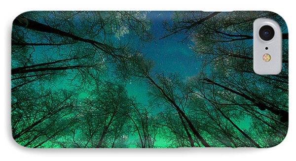 Aurora Glow Through The Birches IPhone Case