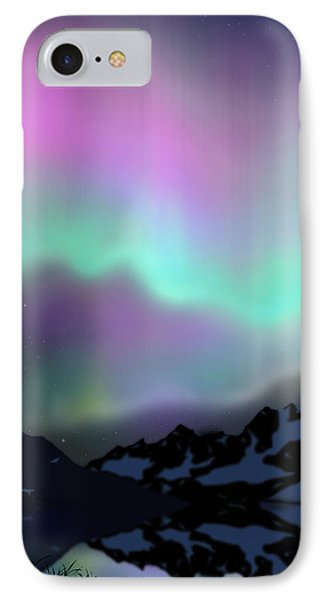 Aurora Over Lake Phone Case by Atiketta Sangasaeng
