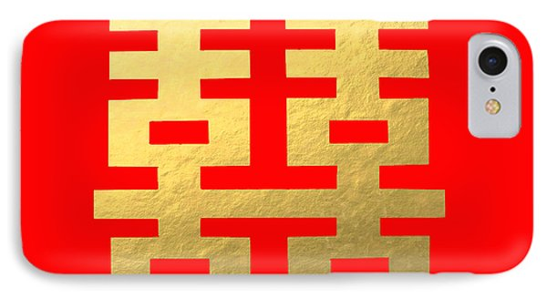 Auspicious Chinese Symbol Of Love - Red Background IPhone Case by Tee Tung