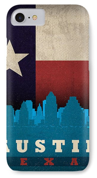 Austin City Skyline State Flag Of Texas Art Poster Series 010 IPhone Case