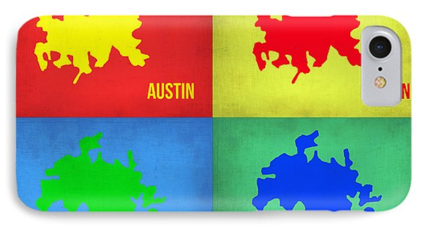 Austin iPhone 7 Case - Austin Pop Art Map 1 by Naxart Studio