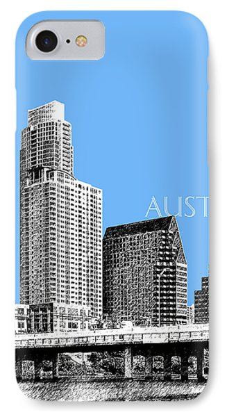 Austin Skyline - Sky Blue IPhone Case by DB Artist