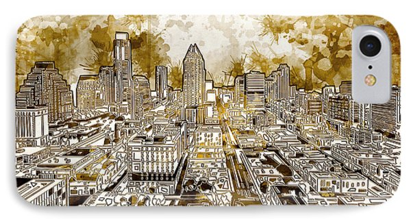 Austin Texas Abstract Panorama 6 IPhone Case by Bekim Art
