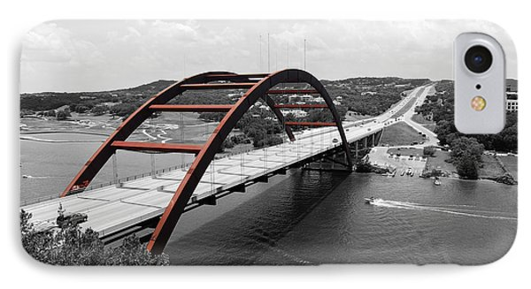 IPhone Case featuring the digital art Austin Texas Pennybacker 360 Bridge Color Splash Black And White by Shawn O'Brien