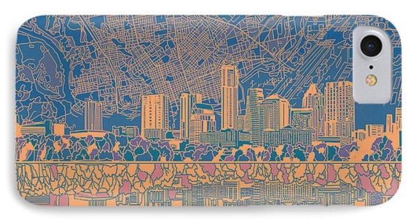 Austin Skyline iPhone 7 Case - Austin Texas Skyline 2 by Bekim Art